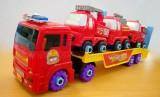 Mô hình xe ô tô chở xe cứu hỏa có bộ dụng cụ sửa chữa MH8637